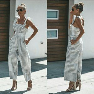 Pants - Striped Cropped Jumpsuit - Heather gray